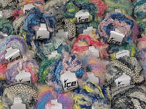 Fancy Yarns This mixed lot includes a total of 2000 gr (70.5 oz.) yarn. There is no standard for fiber content and weight. Also disregard any information on the labels. You will get what you see in the photo. Brand ICE, fnt2-59875