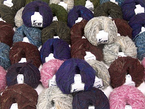 Kan Mohair This mixed lot includes a total of 2000 gr (70.5 oz.) yarn. There is no standard for ball weight. Also disregard any information on the labels. You will get what you see in the photo. Fiber Content 45% Acrylic, 25% Wool, 20% Mohair, 10% Polyamide, Brand ICE, fnt2-59880