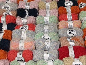 Fancy Yarns This mixed lot includes a total of 2000 gr (70.5 oz.) yarn. There is no standard for fiber content and weight. Also disregard any information on the labels. You will get what you see in the photo. Brand ICE, fnt2-59897