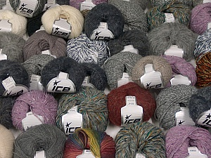 Winter Yarns This mixed lot includes a total of 2000 gr (70.5 oz.) yarn. There is no standard for ball weight. Also disregard any information on the labels. You will get what you see in the photo. Brand ICE, fnt2-59918