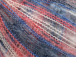 Fiber Content 37% Kid Mohair, 35% Acrylic, 28% Polyamide, White, Red, Brand ICE, Blue Shades, fnt2-59964