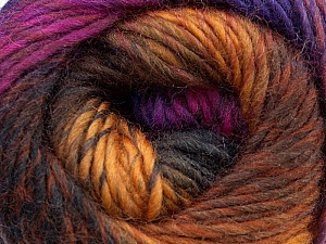 A self-striping yarn, which gets its design when knitted Fiber Content 100% Wool, Purple, Pink, Brand KUKA, Copper, Brown, Yarn Thickness 4 Medium  Worsted, Afghan, Aran, fnt2-16869
