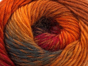 A self-striping yarn, which gets its design when knitted Fiber Content 100% Wool, Red, Orange, Brand KUKA, Brown, Yarn Thickness 4 Medium  Worsted, Afghan, Aran, fnt2-16879