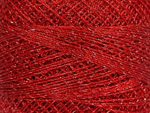 Fiber Content 70% Polyester, 30% Metallic Lurex, Brand YarnArt, Silver, Red, Yarn Thickness 0 Lace  Fingering Crochet Thread, fnt2-17345