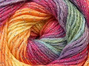 Fiber Content 95% Acrylic, 5% Lurex, Yellow, Salmon, Purple, Orchid, Brand ICE, Green, Yarn Thickness 3 Light  DK, Light, Worsted, fnt2-22058