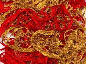 A beautiful new scarf yarn. One ball is enough to make a beautiful scarf. Knitting instructions are included! Fiber Content 100% Acrylic, Red, Brand ICE, Gold, Yarn Thickness 6 SuperBulky  Bulky, Roving, fnt2-22297