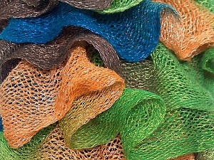 A fresh scarf  yarn wiith cotton content. Shiny and fresh! Fiber Content 70% Cotton, 30% Nylon, Brand ICE, Green, Gold, Brown, Blue, Yarn Thickness 6 SuperBulky  Bulky, Roving, fnt2-23887
