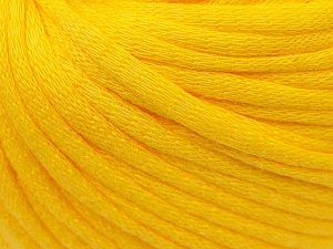 This is a tube-like yarn with soft cotton fleece filled inside. Fiber Content 70% Cotton, 30% Polyester, Yellow, Brand Ice Yarns, Yarn Thickness 5 Bulky  Chunky, Craft, Rug, fnt2-32493