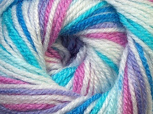Fiber Content 100% Premium Acrylic, White, Rose Pink, Lilac, Brand ICE, Blue Shades, Yarn Thickness 3 Light  DK, Light, Worsted, fnt2-33393