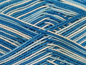 Ne: 8/4. Nm 14/4 Fiber Content 100% Mercerised Cotton, White, Brand ICE, Blue Shades, Yarn Thickness 2 Fine  Sport, Baby, fnt2-34758