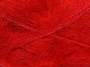 Fiber Content 70% Mohair, 30% Acrylic, Red, Brand ICE, Yarn Thickness 3 Light  DK, Light, Worsted, fnt2-35052