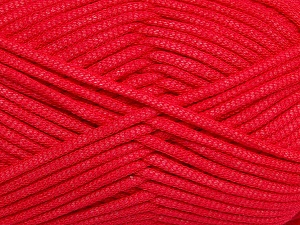This is a tube-like yarn with soft fleece inside. Fiber Content 73% Viscose, 27% Polyester, Tomato Red, Brand ICE, Yarn Thickness 5 Bulky  Chunky, Craft, Rug, fnt2-35605