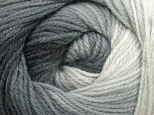 Fiber Content 100% Acrylic, White, Brand ICE, Grey Shades, Yarn Thickness 3 Light  DK, Light, Worsted, fnt2-35639