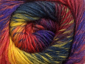 A self-striping yarn, which gets its design when knitted Fiber Content 100% Wool, Rainbow, Brand KUKA, Yarn Thickness 4 Medium  Worsted, Afghan, Aran, fnt2-41090