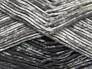 Strong pure cotton yarn in beautiful colours, reminiscent of bleached denim. Machine washable and dryable. Fiber Content 100% Cotton, White, Brand Ice Yarns, Grey, Yarn Thickness 3 Light  DK, Light, Worsted, fnt2-42555
