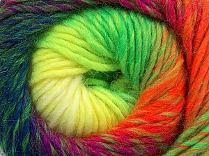 Fiber Content 70% Dralon, 30% Wool, Purple, Neon Yellow, Neon Orange, Neon Green, Navy, Brand ICE, Yarn Thickness 4 Medium  Worsted, Afghan, Aran, fnt2-42704