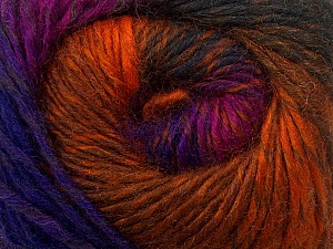 Fiber Content 70% Dralon, 30% Wool, Purple, Orange, Brand Ice Yarns, Fuchsia, Copper, Yarn Thickness 4 Medium  Worsted, Afghan, Aran, fnt2-42768