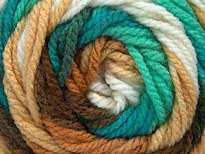 Fiber Content 100% Acrylic, White, Turquoise, Mint Green, Brand ICE, Brown Shades, Yarn Thickness 4 Medium  Worsted, Afghan, Aran, fnt2-46969