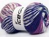 Jacquard Wool White Purple Lilac