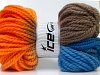 Hand-Dyed Wool Bulky Orange Camel Blue