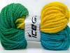 Hand-Dyed Wool Bulky Yellow Turquoise Green