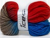 Hand-Dyed Wool Cord Red Camel Blue