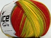 Superwash Wool Color Yellow Red Green