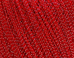 Ne: 10/3 Nm: 17/3 Fiber Content 96% Mercerised Cotton, 4% Metallic Lurex, Silver, Red, Brand ICE, Yarn Thickness 1 SuperFine  Sock, Fingering, Baby, fnt2-49855
