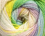 Fiber Content 95% Acrylic, 5% Lurex, Yellow, White, Pink, Lilac, Brand Ice Yarns, Green, Blue, Yarn Thickness 3 Light  DK, Light, Worsted, fnt2-49875