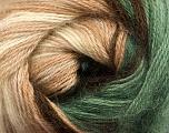 Fiber Content 60% Premium Acrylic, 20% Mohair, 20% Wool, Brand ICE, Green, Cream, Brown Shades, Yarn Thickness 2 Fine  Sport, Baby, fnt2-50296