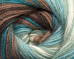Fiber Content 60% Premium Acrylic, 20% Wool, 20% Mohair, White, Turquoise, Mint Green, Brand Ice Yarns, Brown, Yarn Thickness 2 Fine  Sport, Baby, fnt2-50297