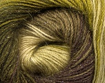 Fiber Content 57% Premium Acrylic, 3% Metallic Lurex, 20% Mohair, 20% Wool, Brand Ice Yarns, Green Shades, Brown Shades, Yarn Thickness 2 Fine  Sport, Baby, fnt2-50318
