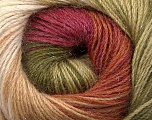 Fiber Content 57% Premium Acrylic, 3% Metallic Lurex, 20% Wool, 20% Mohair, Brand Ice Yarns, Green Shades, Burgundy, Brown, Yarn Thickness 2 Fine  Sport, Baby, fnt2-50321