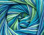 Fiber Content 55% Cotton, 45% Acrylic, Turquoise, Brand ICE, Green, Blue Shades, Yarn Thickness 3 Light  DK, Light, Worsted, fnt2-51445