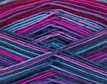 Fiber Content 75% Superwash Wool, 25% Polyamide, Turquoise, Purple, Maroon, Brand ICE, Fuchsia, Yarn Thickness 1 SuperFine  Sock, Fingering, Baby, fnt2-51908