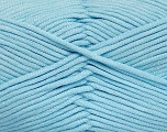 This is a tube-like yarn with soft fleece inside. Fiber Content 73% Viscose, 27% Polyester, Light Blue, Brand ICE, Yarn Thickness 5 Bulky  Chunky, Craft, Rug, fnt2-52047