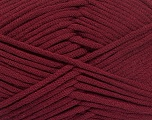 This is a tube-like yarn with soft fleece inside. Fiber Content 73% Viscose, 27% Polyester, Brand ICE, Burgundy, Yarn Thickness 5 Bulky  Chunky, Craft, Rug, fnt2-52048