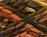 Fiber Content 50% Wool, 50% Acrylic, Orange, Brand Ice Yarns, Green, Gold, Brown Shades, Yarn Thickness 6 SuperBulky  Bulky, Roving, fnt2-52586
