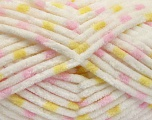 Состав пряжи 100% Микро-волокна, Yellow, White, Pink, Brand Ice Yarns, Yarn Thickness 4 Medium  Worsted, Afghan, Aran, fnt2-53121