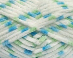 Состав пряжи 100% Микро-волокна, White, Brand Ice Yarns, Green, Blue, Yarn Thickness 4 Medium  Worsted, Afghan, Aran, fnt2-53122