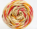 Fiber Content 80% Acrylic, 20% Polyamide, Brand Ice Yarns, Gold, Fuchsia, Cream, Brown, Yarn Thickness 4 Medium  Worsted, Afghan, Aran, fnt2-53205
