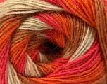 Fiber Content 60% Acrylic, 20% Angora, 20% Wool, Salmon, Orange, Light Brown, Brand ICE, Cream, Yarn Thickness 2 Fine  Sport, Baby, fnt2-53557