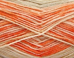 Fiber Content 70% Acrylic, 30% Wool, Orange Shades, Brand Ice Yarns, Cream, Beige, Yarn Thickness 2 Fine  Sport, Baby, fnt2-53768