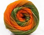 Fiber Content 90% Acrylic, 10% Polyamide, Orange, Brand Ice Yarns, Green Shades, Yarn Thickness 4 Medium  Worsted, Afghan, Aran, fnt2-54528