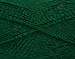 Very thin yarn. It is spinned as two threads. So you will knit as two threads. Yardage information is for only one strand. Fiber Content 100% Acrylic, Brand ICE, Dark Green, Yarn Thickness 1 SuperFine  Sock, Fingering, Baby, fnt2-54684