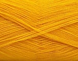 Very thin yarn. It is spinned as two threads. So you will knit as two threads. Yardage information is for only one strand. Fiber Content 100% Acrylic, Brand ICE, Gold, Yarn Thickness 1 SuperFine  Sock, Fingering, Baby, fnt2-54695