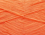 Very thin yarn. It is spinned as two threads. So you will knit as two threads. Yardage information is for only one strand. Fiber Content 100% Acrylic, Light Salmon, Brand Ice Yarns, Yarn Thickness 1 SuperFine  Sock, Fingering, Baby, fnt2-54710