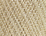 Ne: 10/3 Nm: 17/3 Fiber Content 96% Mercerised Cotton, 4% Metallic Lurex, Brand ICE, Gold, Cream, Yarn Thickness 1 SuperFine  Sock, Fingering, Baby, fnt2-54758