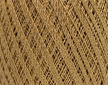 Ne: 10/3 Nm: 17/3 Fiberinnhold 96% Mercerised bomull, 4% Metallisk Lurex, Brand Ice Yarns, Gold, Camel, fnt2-54759