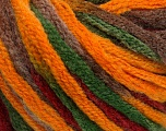 Fiber Content 50% Acrylic, 50% Wool, Brand Ice Yarns, Green, Gold, Burgundy, Brown, fnt2-54873